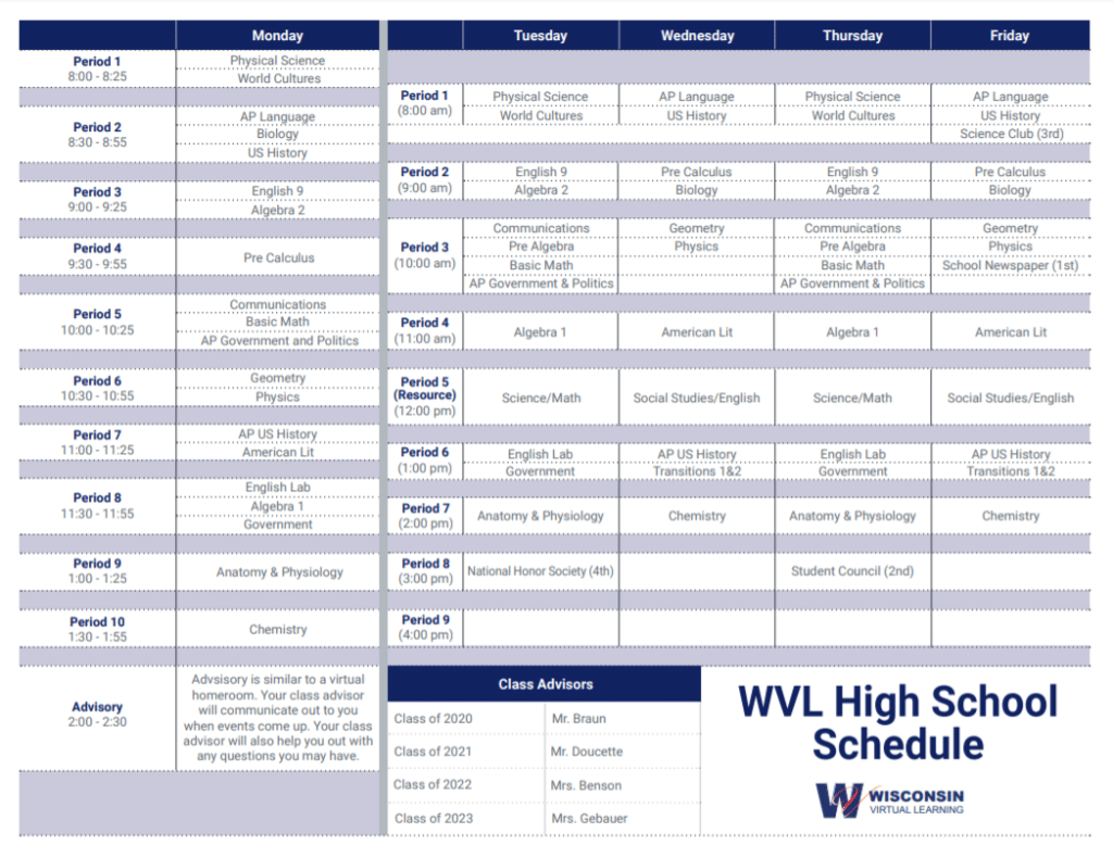 WVL Online High School Schedule